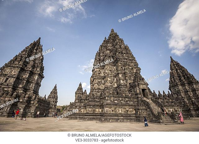 Tourists visiting Prambanan Hindu Temple Coumpounds (UNESCO World Heritage Site), Special Region of Yogyakarta,Central Java, Indonesia