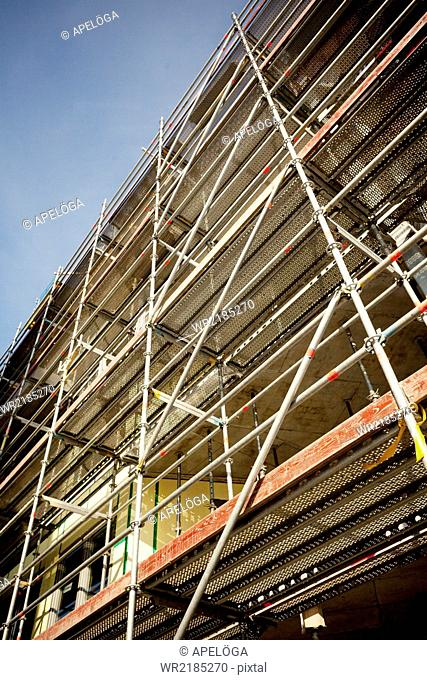 Low angle view of scaffoldings on building