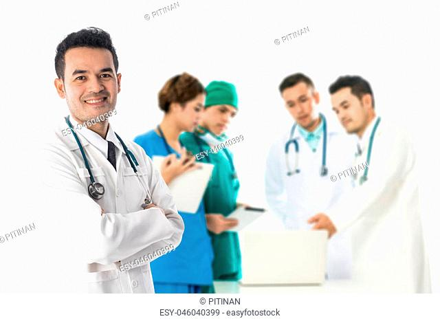 Medical people - Doctors, nurse and surgeon in group meeting. Selective focus at front doctor