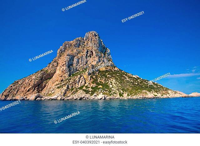Es Vedra island of Ibiza close view from boat in Mediterranean Balearic Islands