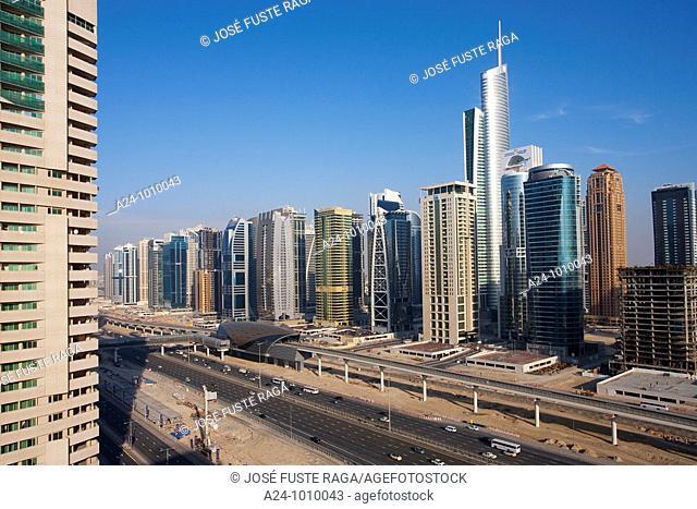 United Arab Emirates January-2010 Dubai City Dubai Marina Sheikh Zayed Rd  and Almas Tower