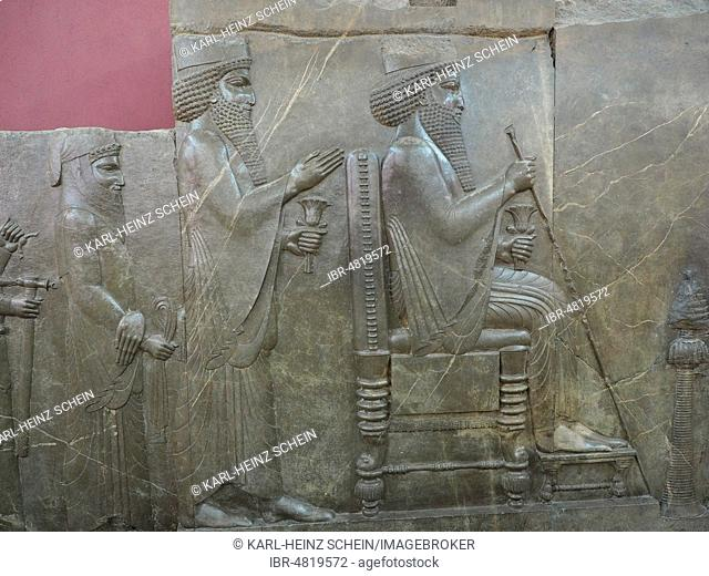 Antique treasure house relief of the Achaemenids, audience relief of Darius I, sitting on the throne, archaeological find from the old Persian royal seat...