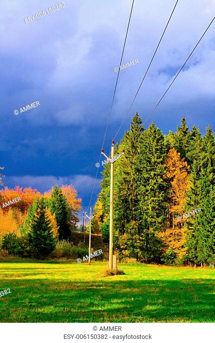 Autumn wooded landscape with dramatic clouds, Drahany highlands, Southern Moravia, Czech republic, Central Europe