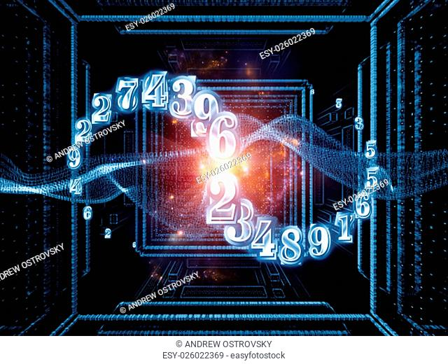 Numbers Are Forever series. Arrangement of 3D fractal and digits on the subject of science, technology and math