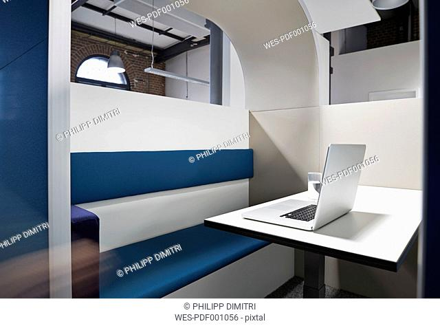 Modern office cubicle with noise protection partition wall