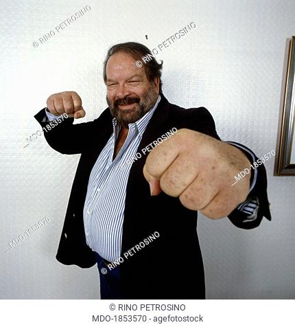 Italian actor, scriptwriter and film producer Bud Spencer (Carlo Pedersoli) posing clenching his fists. 1988