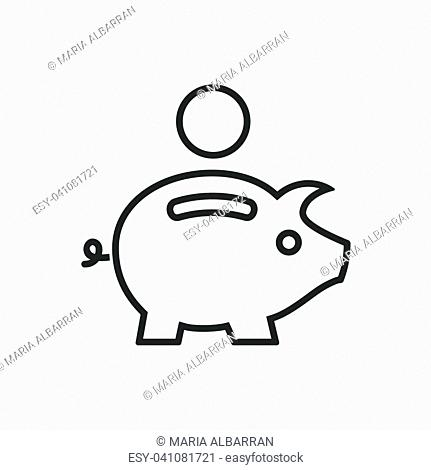 Piggy bank line icon on a white background. Vector illustration