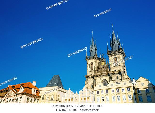 Towers of Church Of Our Lady Before Tyn In Old Town Square in Prague, Czech Republic
