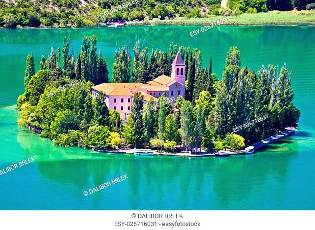 Island of Visovac monastery in Krka national park, Dalmatia, Croatia