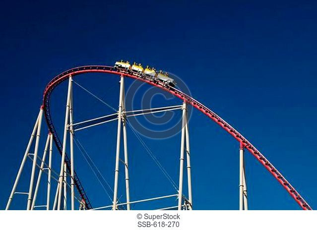 Low angle view of a rollercoaster, New York New York Hotel, The Strip, Las Vegas, Nevada, USA
