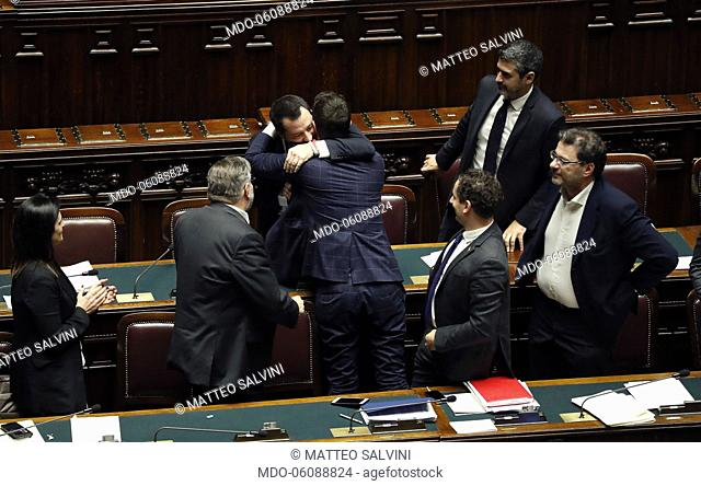Deputy prime minister and Interior Minister Matteo Salvini and Nicola Molteni celebrate in the classroom after the final vote on the Security and Immigration...