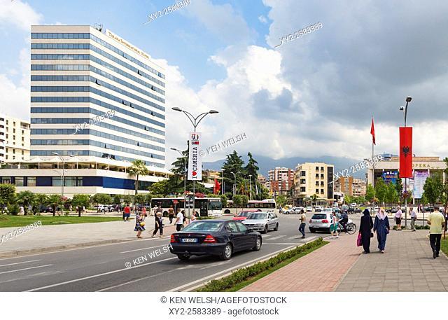 Tirana, Albania. Rruga e Durresit, or Durrës Street. One of the capital's main thoroughfares