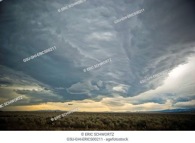Dramatic Storm Clouds Gathering Over Landscape, Idaho, USA