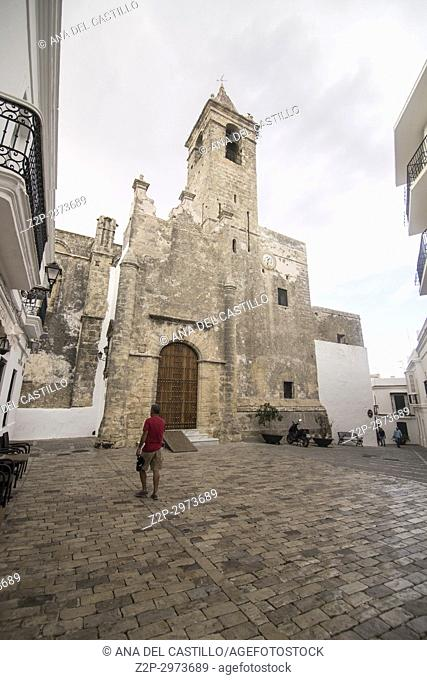 Vejer de la Frontera white village in Cadiz province, Andalusia, Spain. Church of Divino Salvador