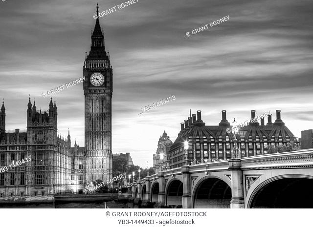 The Houses of Parliament, Westminster Bridge and The River Thames, London, England