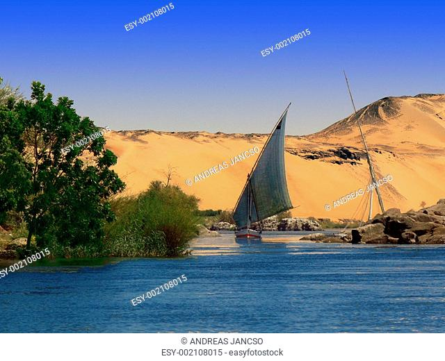 Nile River Bank with Boat