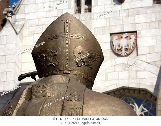 Poland, Krakow, detail of Pope John Paul II monument at Wawel Hill