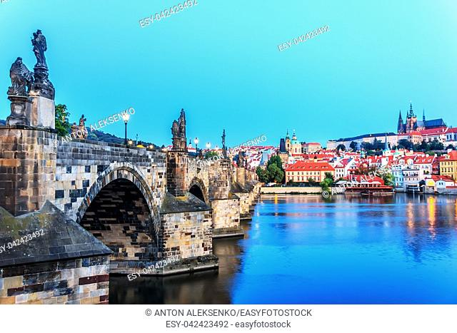 Charles Bridge close view, the Vltava and Lesser Town of Prague panorama
