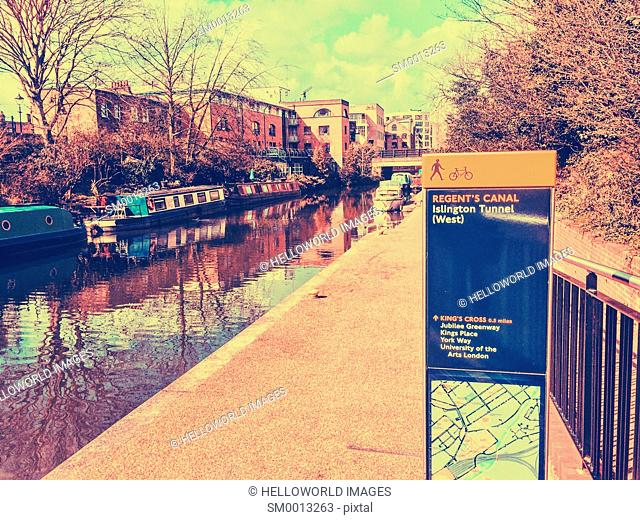Information sign by the Regent's Canal, Islington, London, England, Europe