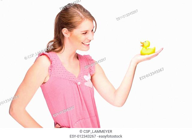 Woman with rubber duck
