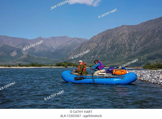 Rafters on the Marsh Fork of the Canning River, ANWR, Arctic Alaska, summer