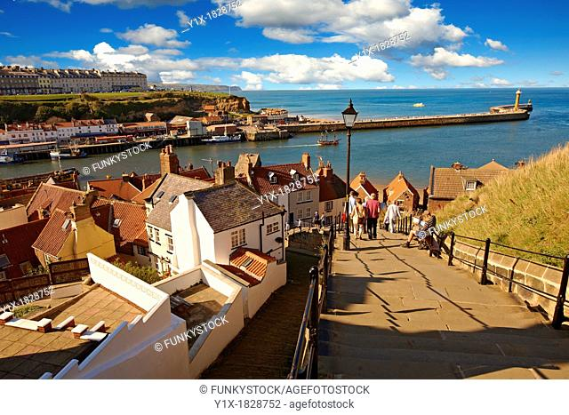 199 steps overlooking Whitby harbour  North Yorkshire, England