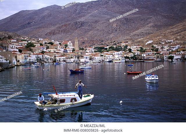 Nimborio, general view, boats  Halki, Dodecanese, Greece