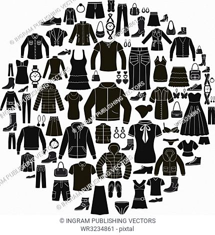 Set of Women's and Men's Clothing icons. Accessories