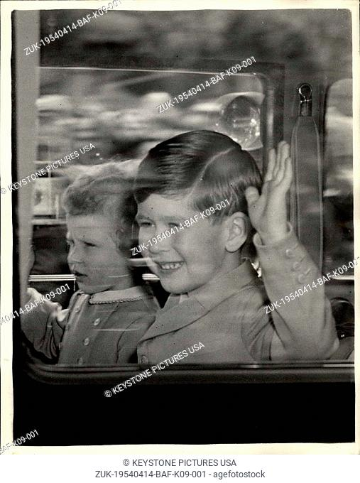 Apr. 14, 1954 - The Royal children leave for Waterloo Station wave to the crowds.: Photo shows Prince Charles and Princess Anne seen in the car when they...