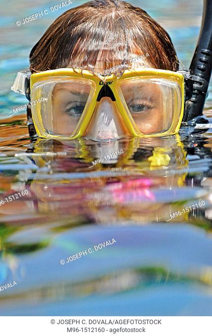 Female scuba diver on surface