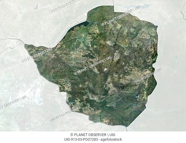 Satellite view of Zimbabwe (with country boundaries and mask). This image was compiled from data acquired by Landsat satellites
