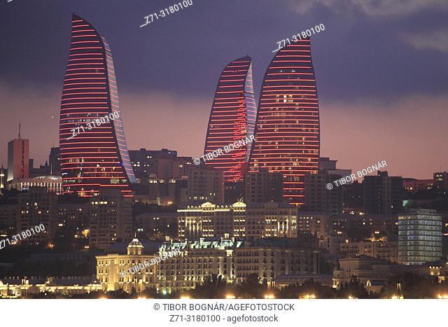 Azerbaijan, Baku, skyline, Flame Towers,