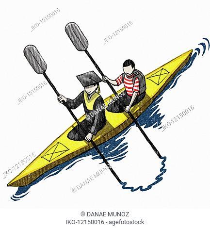 Boy paddling behind graduate in kayak