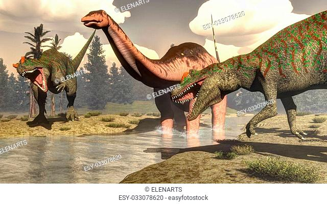 Two allosaurus hunting big brontosaurus, apatosaurus, dinosaur standing in the water next to tempsky trees and epicea forest - 3D render