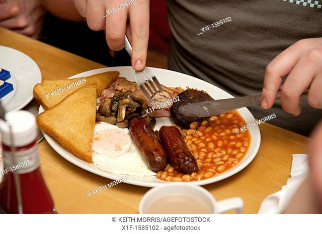 A 'greasy spoon' fried full english breakfast - bacon, egg, sausage, beans, fried bread, black pudding - in a cafe UK