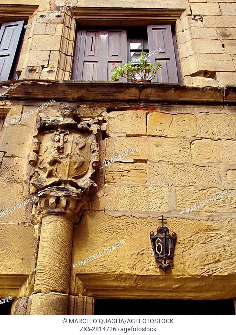 Detail of Heraldry house at Pasaia village. Basque country. Gipuzkoa province. Euskadi, Spain