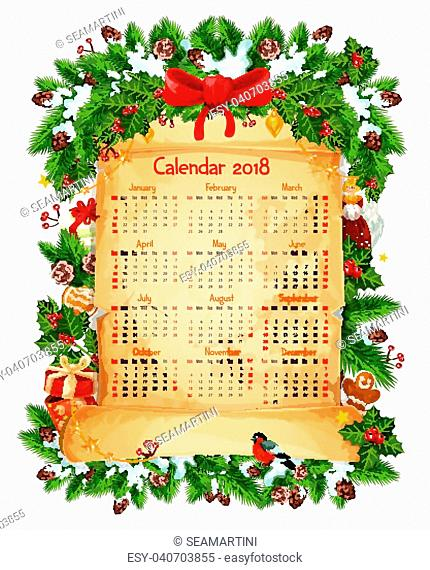 2018 calendar of Christmas winter holiday decoration, red ribbon bow or holly wreath garland and Santa gifts on paper scroll
