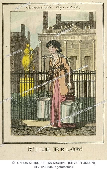 'Milk Below!'. A milk seller in Cavendish Square, Marylebone. A woman with a yoke across her neck and shoulders in order to carry two large pails of milk...