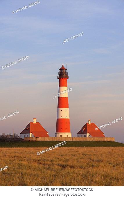 Lighthouse WESTERHEVER, Schleswig-Holstein, Germany, Europe