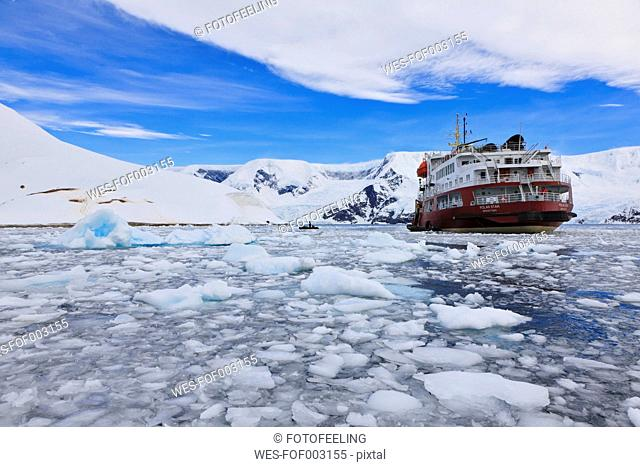 South Atlantic Ocean, Antarctica, Antarctic Peninsula, Gerlache Strait, Neko Harbour, Polar star icebreaker cruise ship between ice on sea