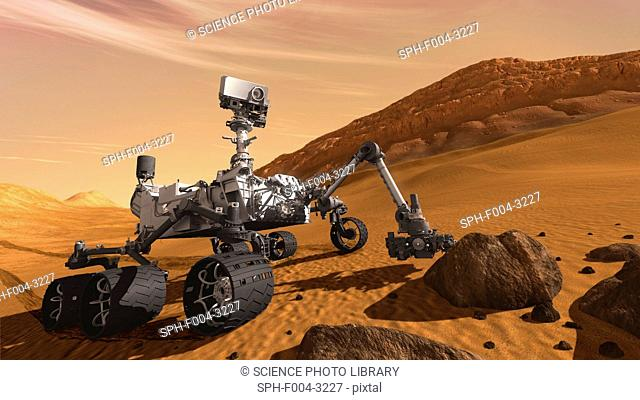 Curiosity rover. Computer artwork of the Mars Science Laboratory MSL mission rover, Curiosity, on the Martian surface. The rover