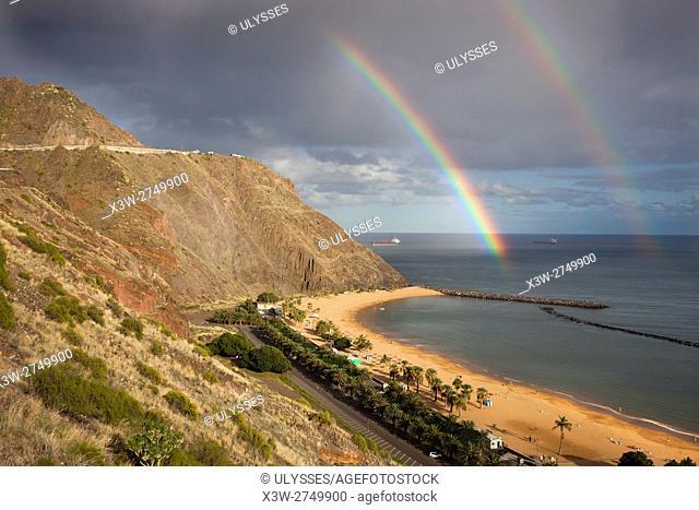 Rainbow; Las Teresitas beach, Santa Cruz de Tenerife area, Tenerife island, Canary archipelago, Spain, Europe