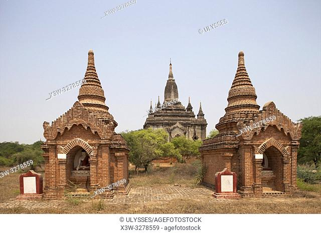 View with the Shwegugyi temple, Old Bagan village area, Mandalay region, Myanmar, Asia