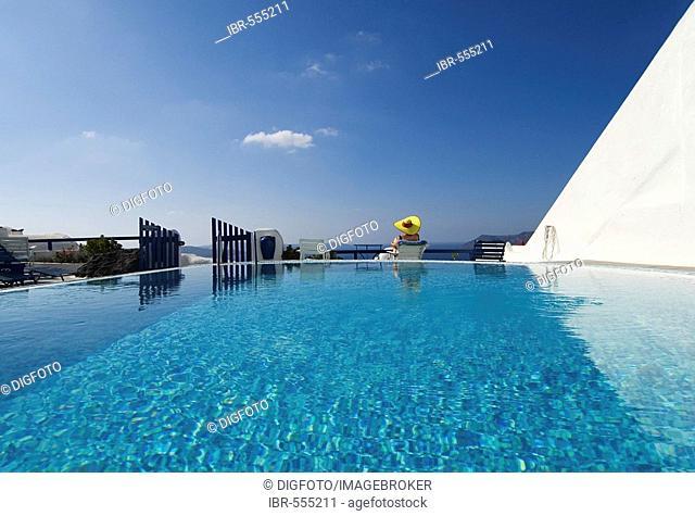Pool, Oia, Santorini, Cyclades, Aegean Sea, Greece