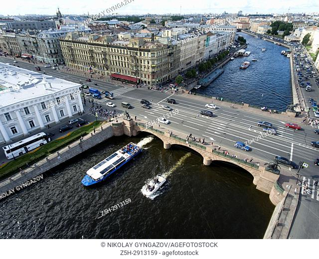 Small rivers and bridges from a bird's eye view. Saint Petersburg. Russia