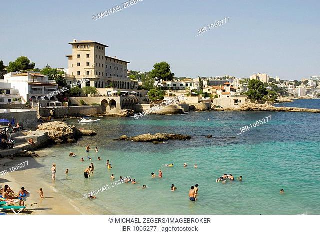 Beach on the Mediterranean coast, Hotel Hospes Maricel in Cas Catala, Calvia, tourism in a bay west of Palma de Majorca, Balearic Islands, Spain, Europe