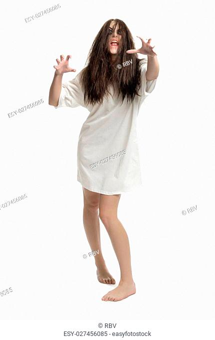 Young zombie girl isolated on white