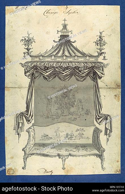 Chinese Sopha [Sofa], in Chippendale Drawings, Vol. I. Artist: Thomas Chippendale (British, baptised Otley, West Yorkshire 1718-1779 London); Date: ca