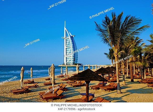 United Arab Emirates, Dubai, Jumeira beach, Hotel Mina A'Salam Madinat Jumeirah with View of Burj Al Arab hotel