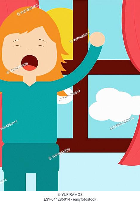 young girl waking up and stertching near window morning vector illustration